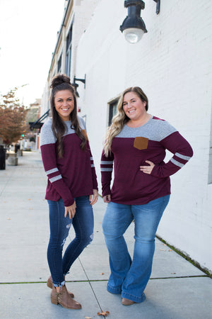 Burgundy & Gray Varsity Stripe Pocket LS (SM-3X)