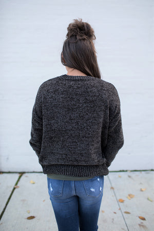 Dark Gray Plush Chenille Pullover Sweater (SM-3X)