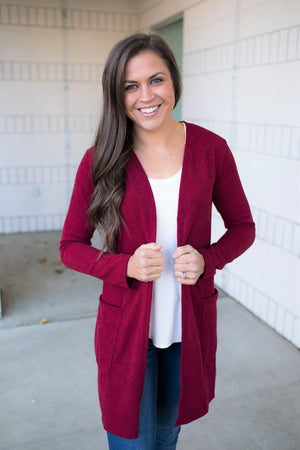 Burgundy Midi Pocket Knit Cardigan