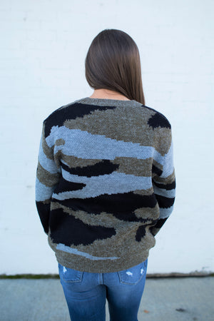 Camo Knitted Pullover Sweater