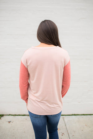 Coral Green Peach V Stitch Triblend LS (SM-XL)