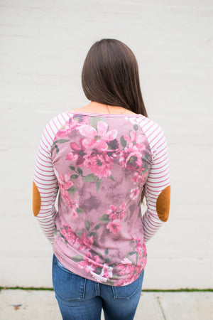 Mauve Floral Striped Sleeve Elbow Patch Top (SM-3XL)
