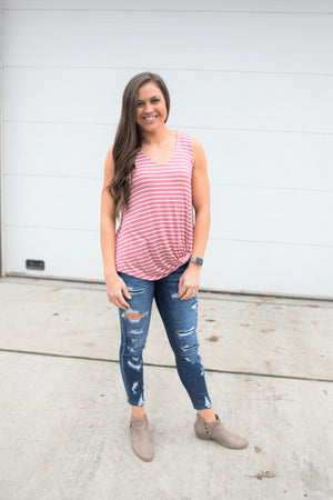 Mauve White Striped Vneck Side Knot Tank