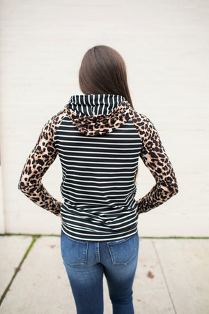 Black Striped & Leopard Double Hoodie