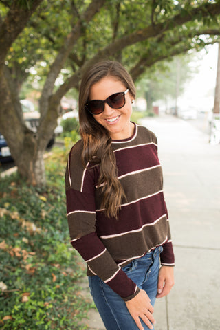 Burgundy & Olive Striped LS Sweater