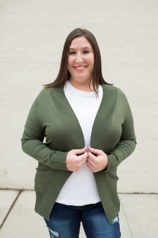 Olive Everyday Pocket Cardigan