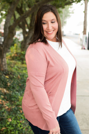 Lt Rose Pink Everyday Pocket Cardigan (SM-2X)