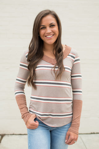 Mocha & Rust Striped Long Sleeve Vneck