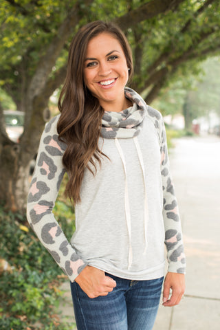 Gray & Urban Leopard Sweater Cowl Pullover