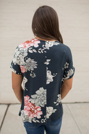 Navy Floral Crisscross Chest SS Top
