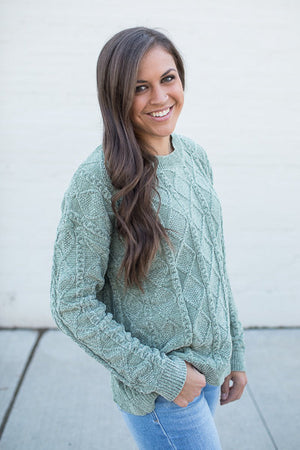 green diamond plush oversize pullover sweater