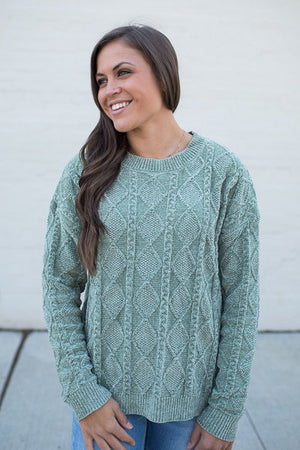 Lt Olive Diamond Plush Pullover Sweater