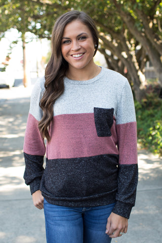 Gray & Mauve Colorblock Pullover Sweater (SM-3XL)