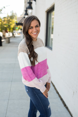 Taupe Cream Pink Colorblock Knit Sweater