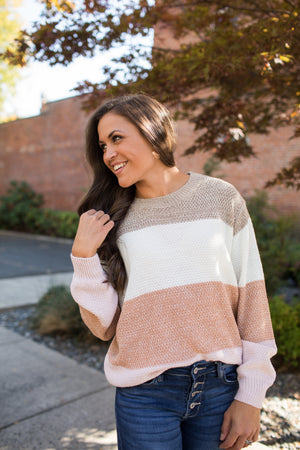 Taupe Cream Mocha Colorblock Knit Sweater