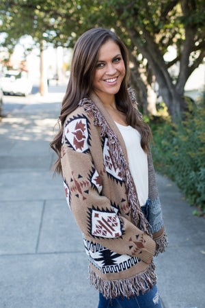 Mocha Brown Aztec Fringe Cardigan
