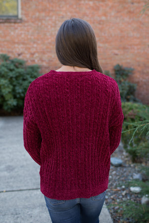 Dk Red Ribbed Plush Pullover Sweater
