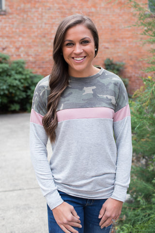 Camo Pink Gray Colorblock Pullover (SM-3XL)
