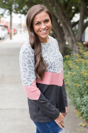 Gray Leopard Pink Chevron Sweater (SM-3X)