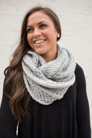 Gray Soft Loose Knit Infinity Scarf