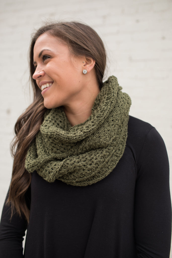 Olive Soft Loose Knit Infinity Scarf