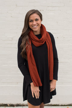 Rust Ribbed Knit Scarf