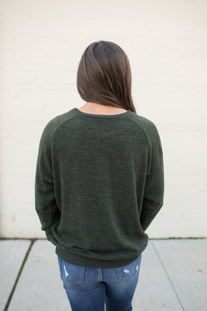 Dark Olive Knit Pullover Sweater (SM-3X)