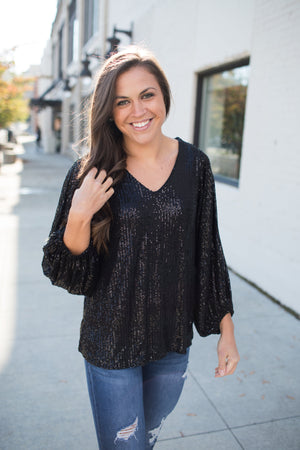 Black City Lights Vneck Sequin Blouse