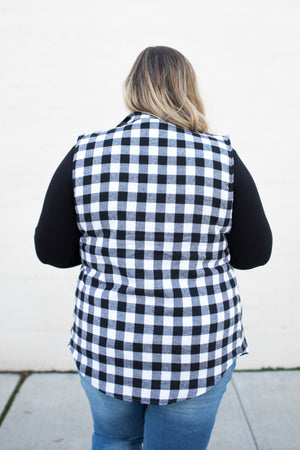 Black White Buffalo Plaid Vest (SM-3X)