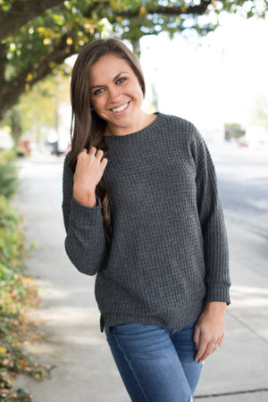 Gray Brushed Thermal Knit Pullover Sweater