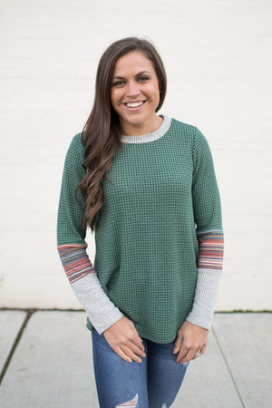 Green Thermal Striped Sleeve Contrast LS