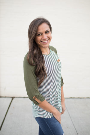 Olive & Stripes 3/4 Sleeve Top