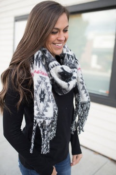 White Black Red Aztec Scarf