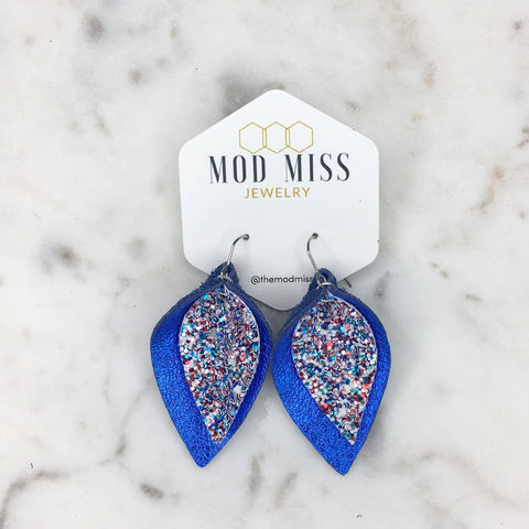 Red White Blue Glitter on Metallic Blue Stacked Petal Earrings