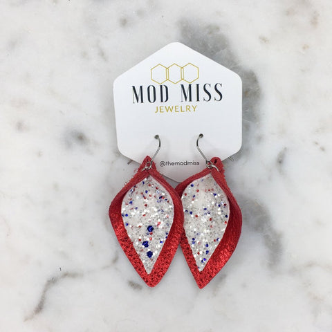 Americana Glitter on Metallic Red Stacked Petal Earrings