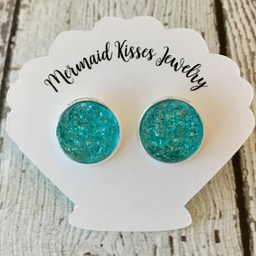 Aqua Mint Druzy Stud Earrings