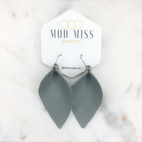 Ash Gray Leather Petal Earrings