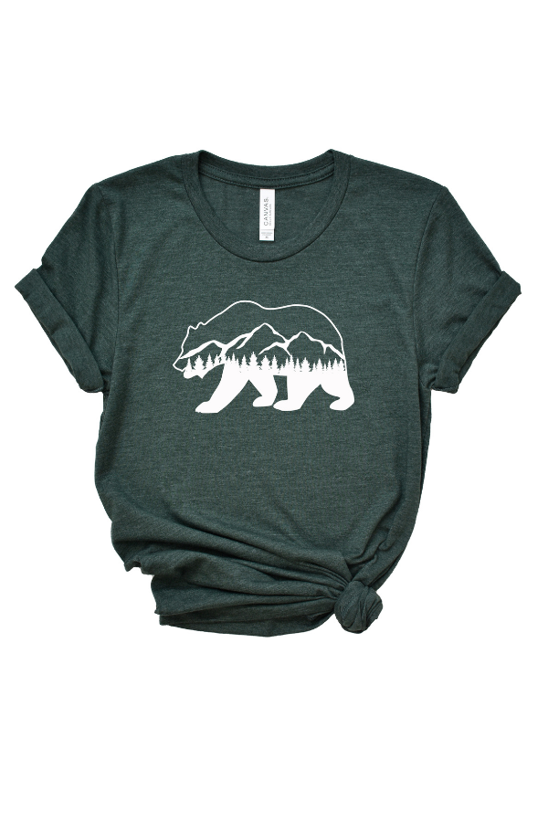 Bear Mountain Graphic Tee - Forest Green