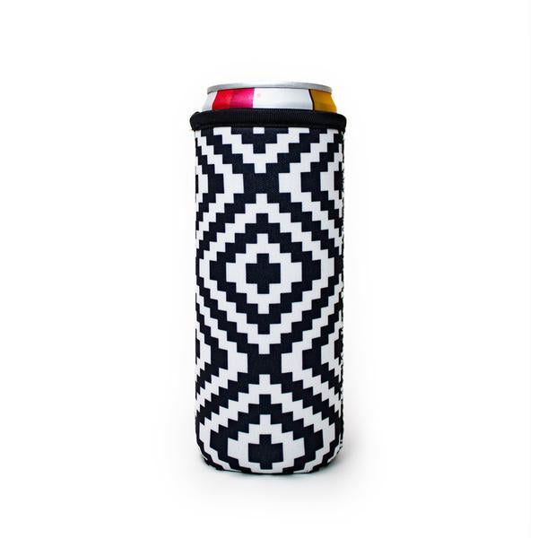 Black & White Aztec Slim Can Cooler
