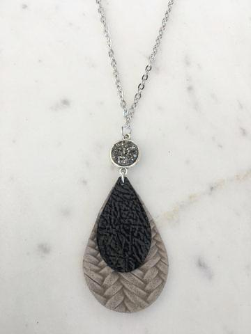 Black Patent on Gray Weaved Leather Teardrop Necklace