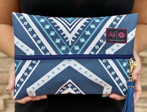 Blue Aztec Makeup Junkie Bag - Small