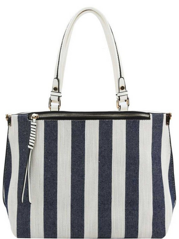 Blue White Striped 2Way Satchel Purse