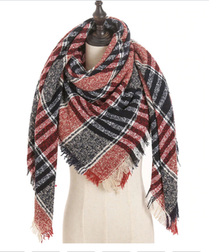 Brick Navy Beige Plaid Triangle Blanket Scarf