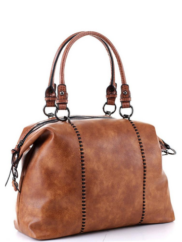 Distressed Brown 2way Satchel Bag