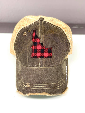 "Idaho Buffalo Plaid ""Dirty Look"" Trucker Hat"