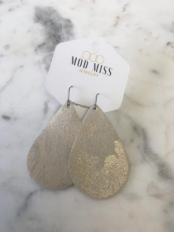 Champagne Camo Leather Teardrop Earrings