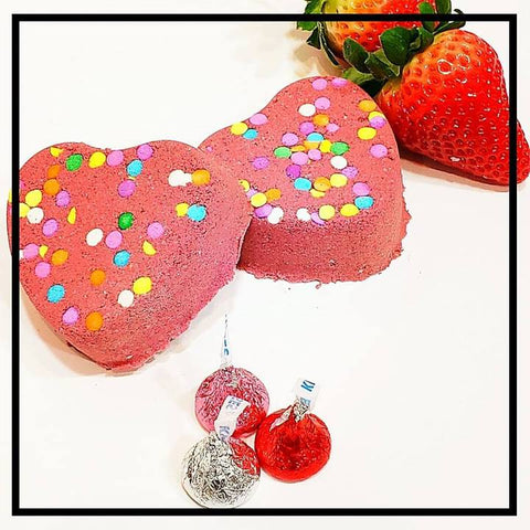 Chocolate Covered Strawberries Heart Bath Bombs