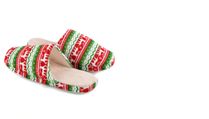 Red Green Deer Christmas Slippers