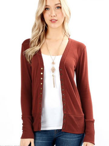 Dark Rust Snap Front Cardigan