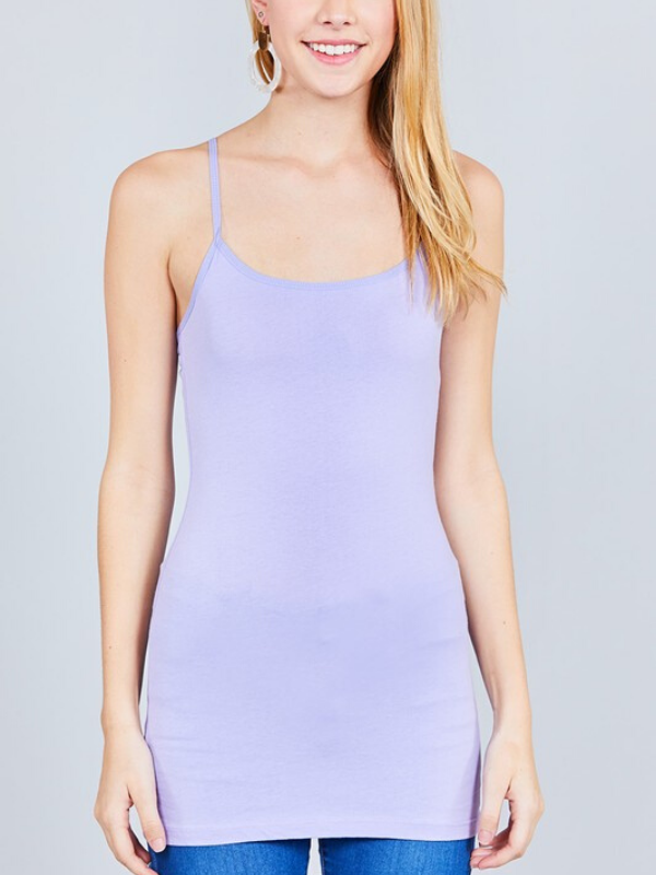 Electric Lilac Basic Cotton Long Adjustable Spaghetti Strap Cami Tank